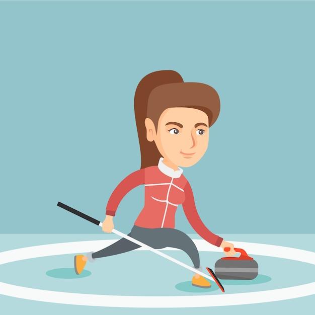 Sportive jouant au curling sur une patinoire. Vecteur Premium