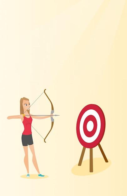 Sportive visant avec un arc et une flèche à la cible. Vecteur Premium