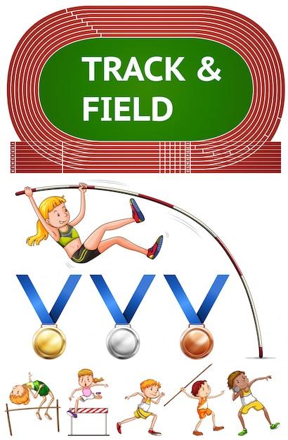 Sports D'athlétisme Et Médailles Sportives Vecteur gratuit