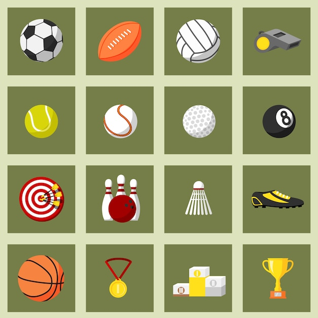 Sports flat icons set Vecteur Premium