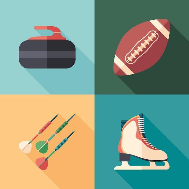 Sports d'hiver et d'été des icônes plates carrées avec de longues ombres. Vecteur Premium
