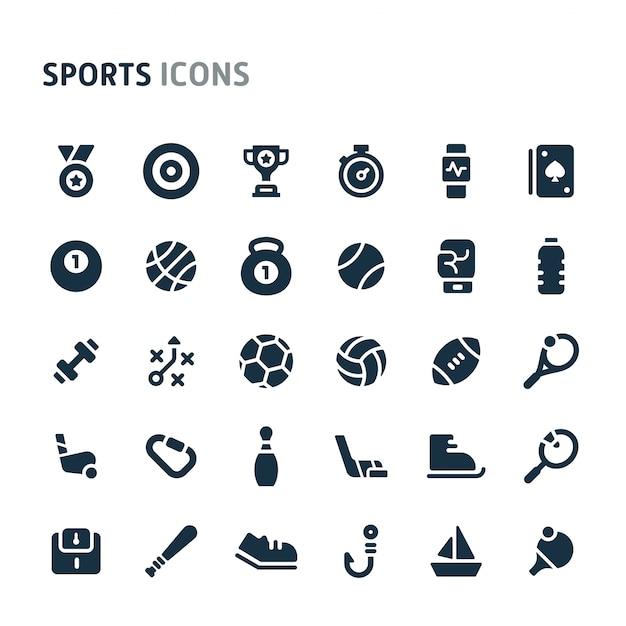 Sports Icon Set. Série D'icônes Fillio Black. Vecteur Premium