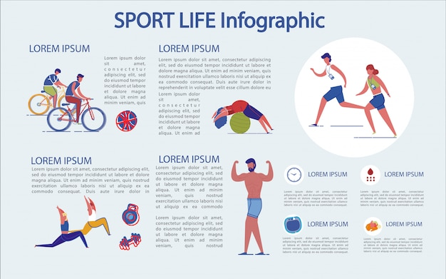 Sports Life Infographic, Comment ça Se Passe Et Quelle Utilisation. Vecteur Premium