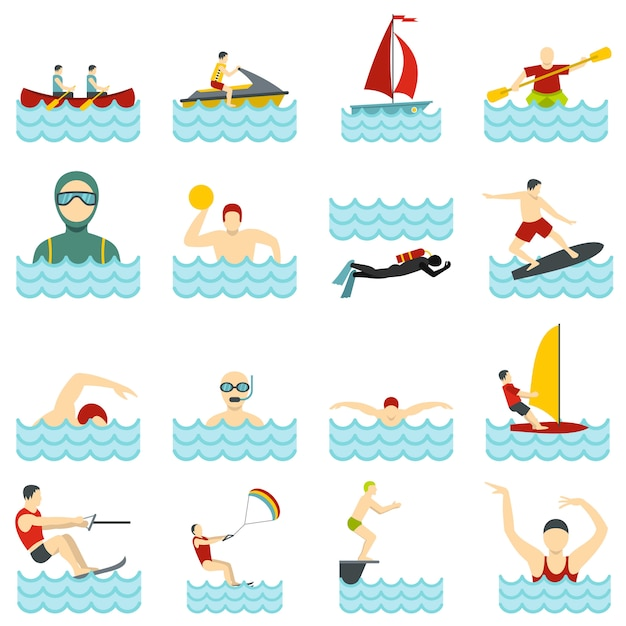 Sports nautiques mis des icônes plats Vecteur Premium