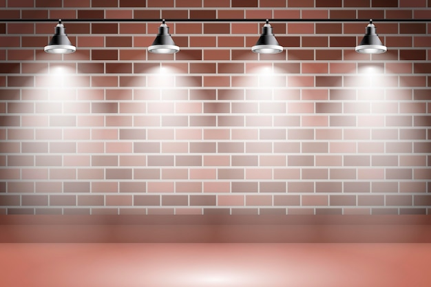 Spot Lights Background Sur Mur De Briques Vecteur gratuit