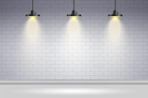Spot Lumières Fond Mur De Briques Blanches Vecteur gratuit
