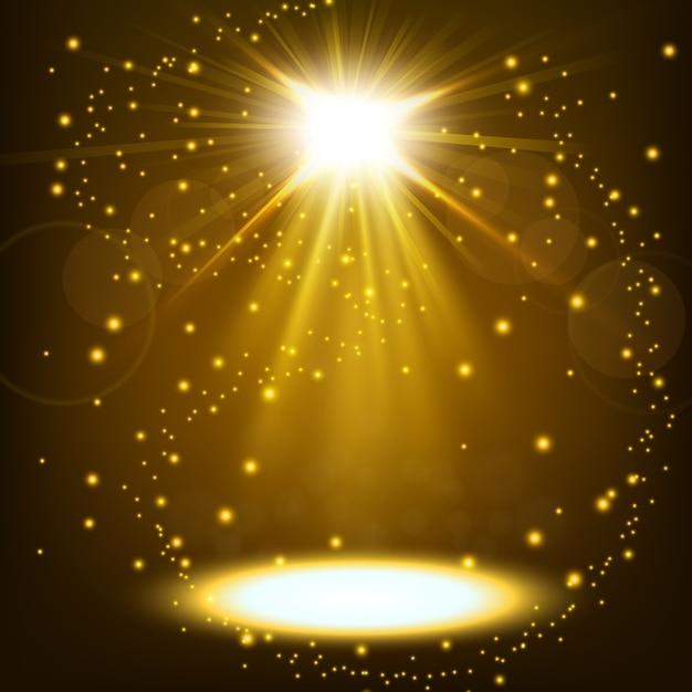 Spot d'or brillant avec des paillettes flottant Vecteur Premium