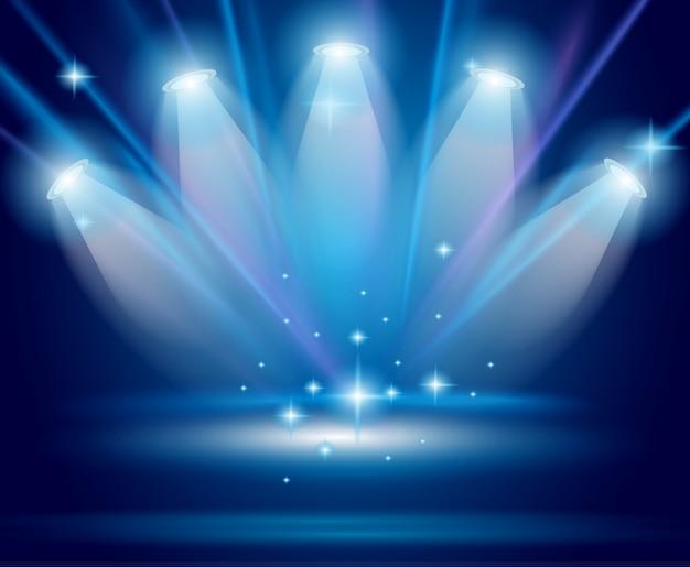 Spots magiques aux rayons bleus Vecteur Premium