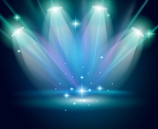 Spots magiques avec rayons bleus et effet brillant Vecteur Premium