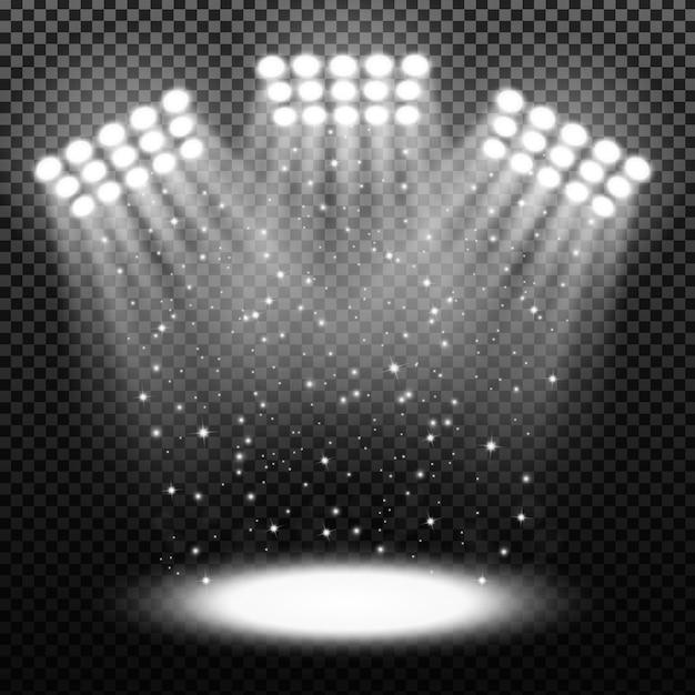Spots de stade lumineux sur fond transparent Vecteur Premium