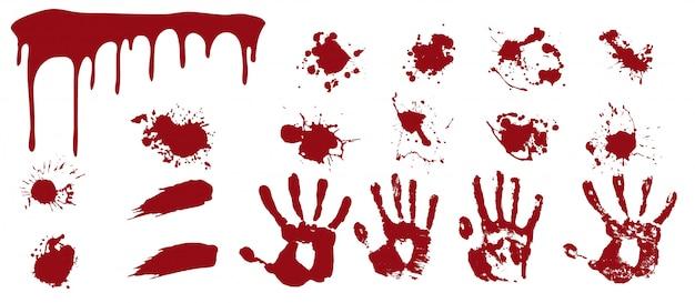 Spray Sanglant Et Empreintes De Mains. Des Stries Rouges Et Des Frottis Avec Des Empreintes Humaines Des Taches De Mort. Vecteur Premium