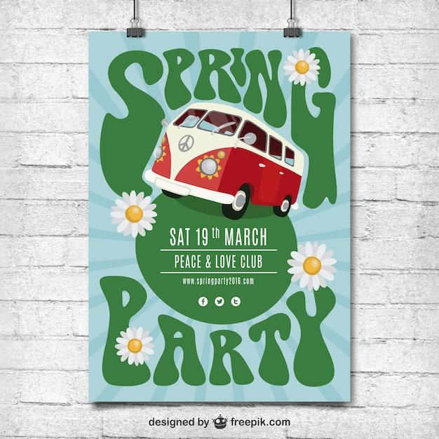 Spring affiche hippie de partie Vecteur gratuit