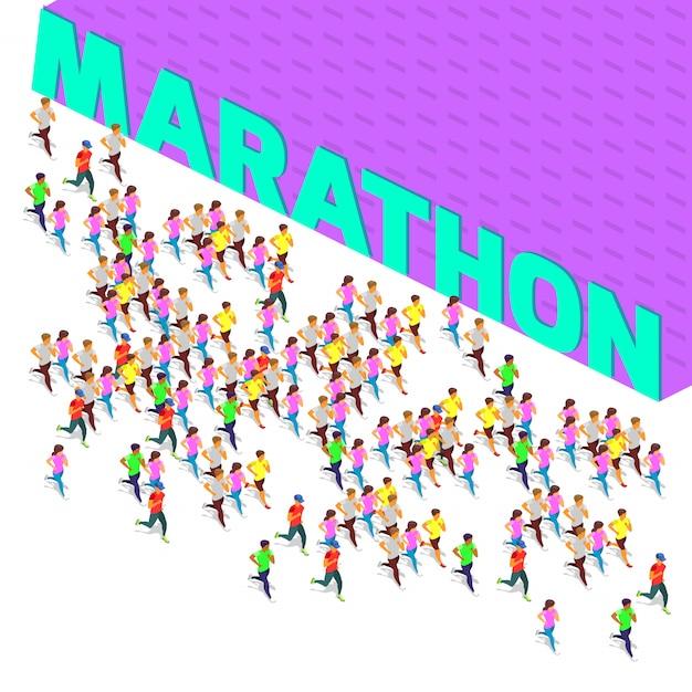 Sprinter marathon Vecteur Premium