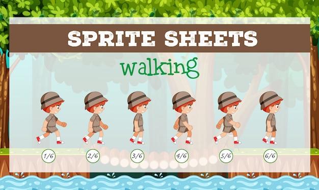 Sprite sheet boy marcher Vecteur gratuit