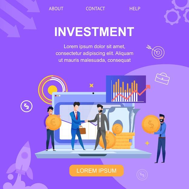 Square banner page de destination de l'investissement Vecteur Premium
