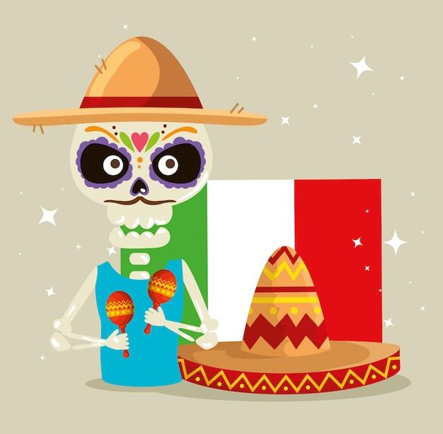Squelette, chapeau, à, maracas, et, drapeau mexique Vecteur gratuit