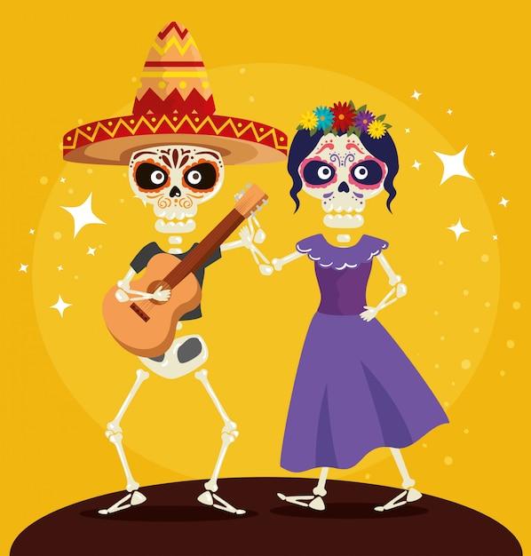 Squelette avec guitare dansant avec catrina Vecteur gratuit
