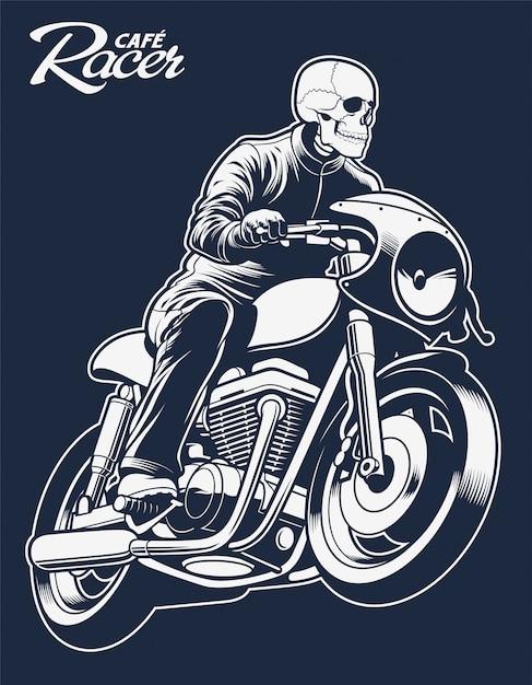 Squelette d'illustration vectorielle cafe racer sur moto Vecteur Premium