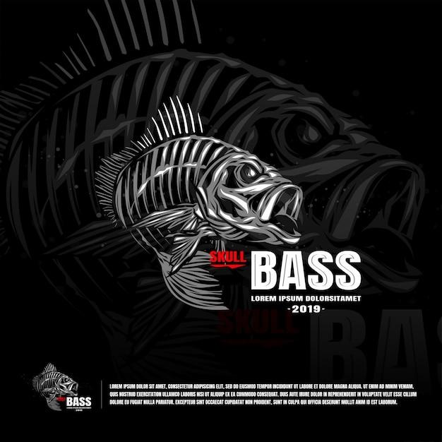 Squelette Poisson Bass Sport Modèle Logo Vecteur Premium