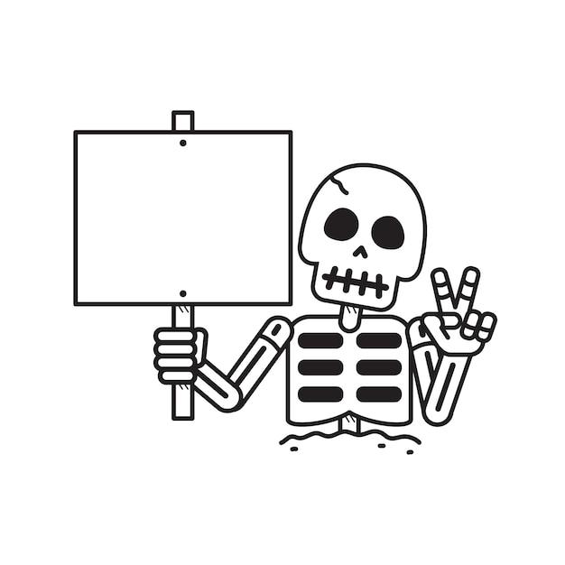 Squelette de vecteur de dessin animé avec signe Vecteur Premium