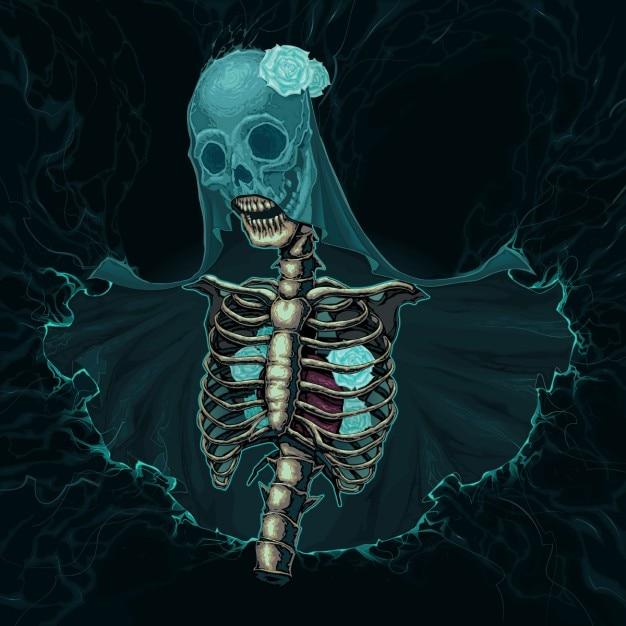 Squelette avec voile et de roses blanches vecteur horreur illustration Vecteur gratuit