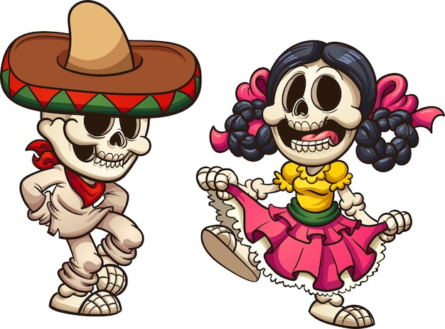Squelettes mexicains Vecteur Premium