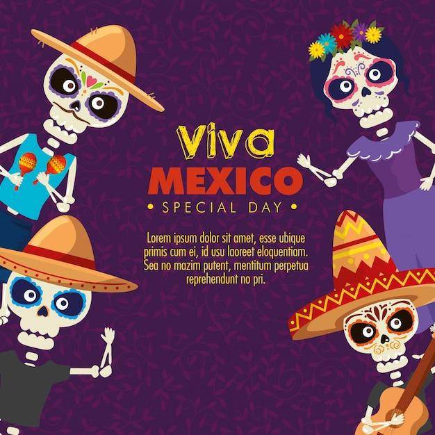 Squelettes portant un chapeau avec catrina à l'événement de célébration Vecteur gratuit