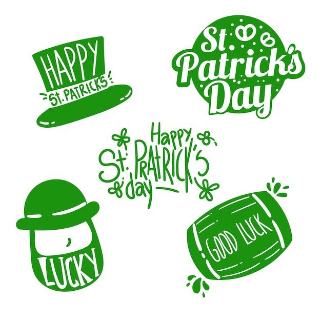 St Dessiné à La Main. Collection D'étiquettes De Patrick's Day Vecteur gratuit