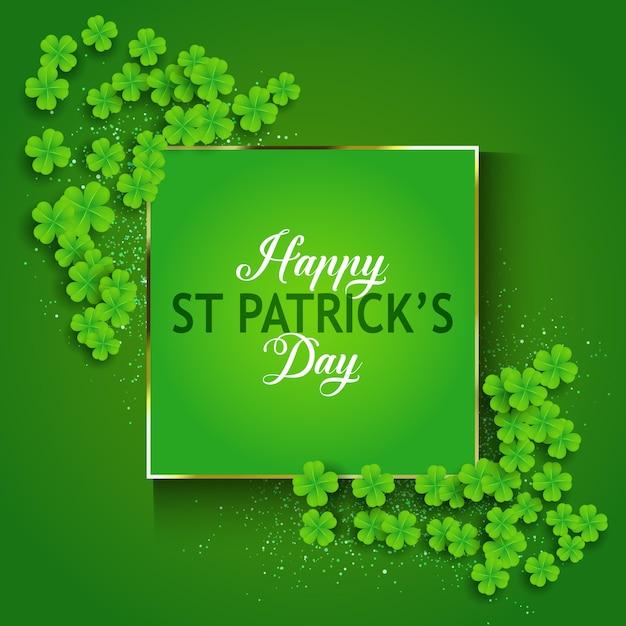 St Patrick's Day Background Avec Trèfle Vecteur gratuit