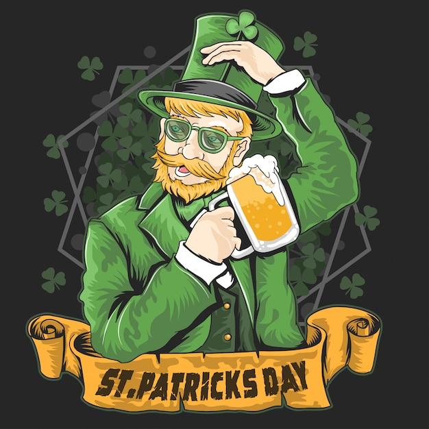 St. patrick's day shamrock beer party vecteur Vecteur Premium