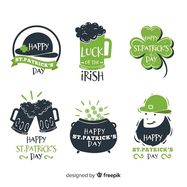 St Patrick's Label De Différentes Formes Collection Vecteur gratuit
