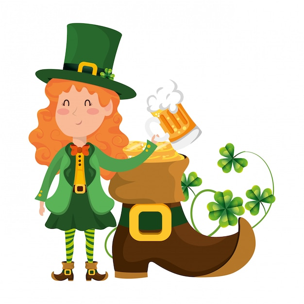 St patricks day cartoon Vecteur Premium