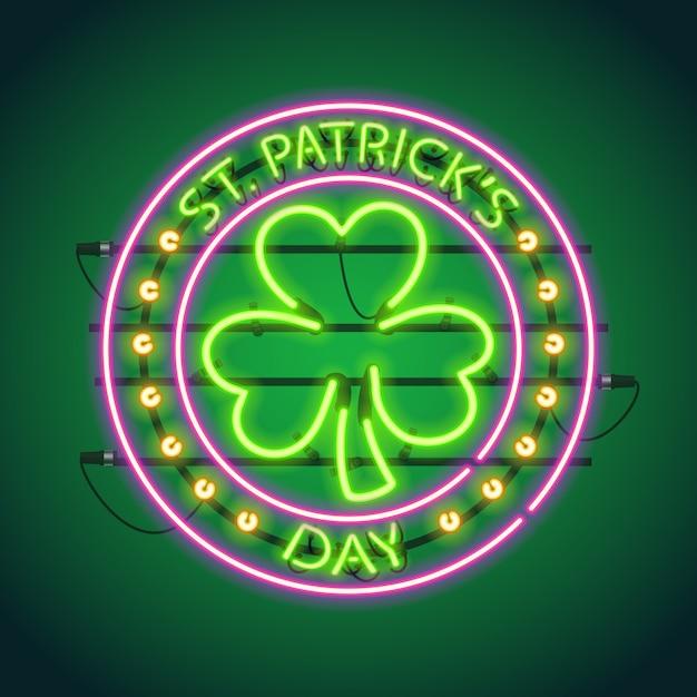 St patricks day ronde au néon Vecteur Premium