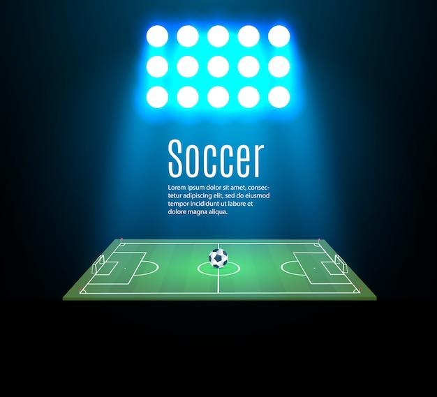 Stade De Football Avec Ballon Sur Terrain De Football Et Projecteur Vecteur Premium
