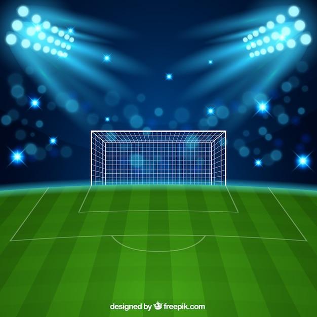 Stade de football dans un style réaliste Vecteur gratuit