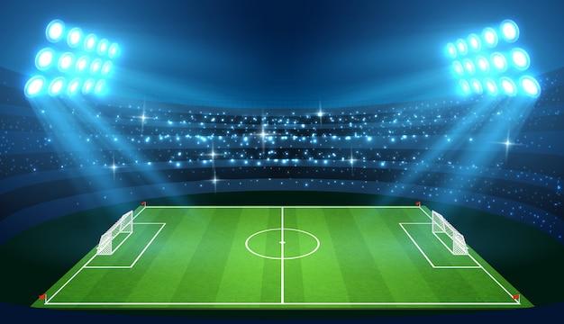 Stade de football avec terrain de football vide et projecteurs vector illustration Vecteur Premium