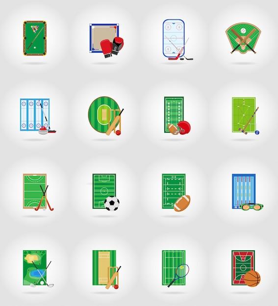 Stade de terrain de jeu de la cour et terrain pour jeux sportifs icônes plates vector illustration Vecteur Premium