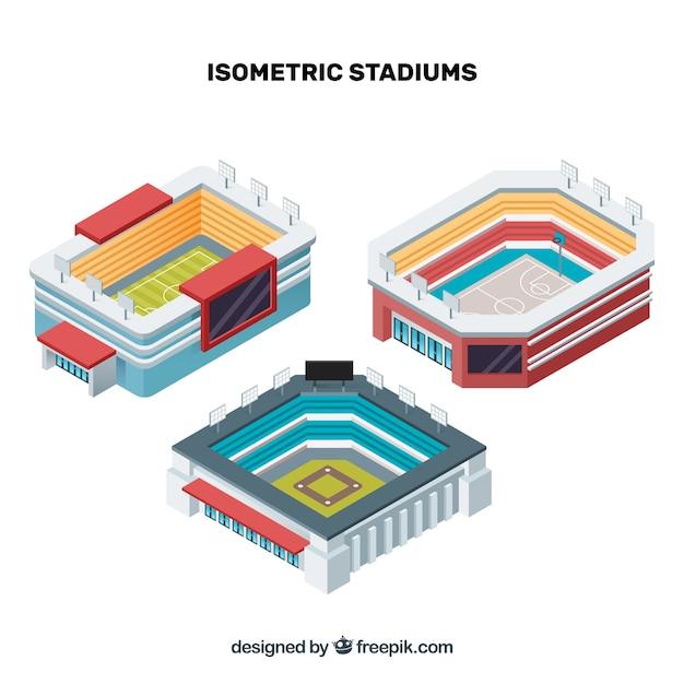Stades isométriques Vecteur gratuit