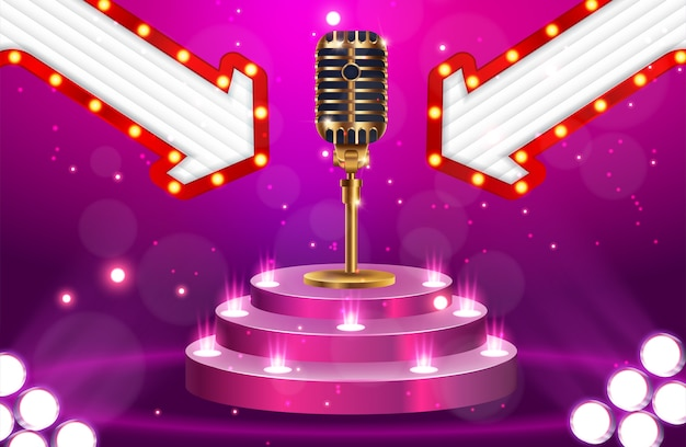Stage avec microphone doré sur fond brillant Vecteur Premium