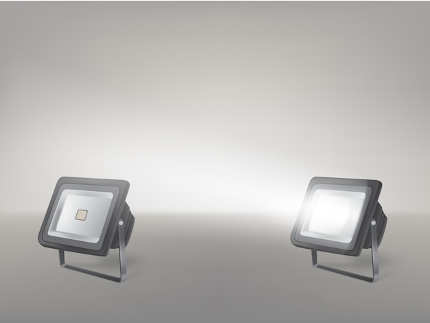 Stage ou studio projecteurs réaliste vecteur Vecteur gratuit