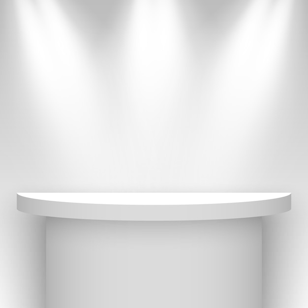 Stand D'exposition Blanc, éclairé Par Des Projecteurs. Piédestal. étagère. Illustration. Vecteur Premium