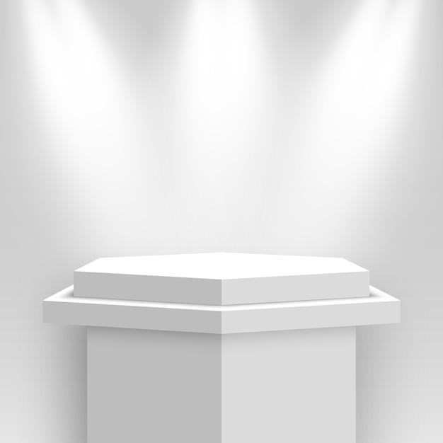 Stand D'exposition Blanc, éclairé Par Des Projecteurs. Piédestal. Illustration. Vecteur Premium