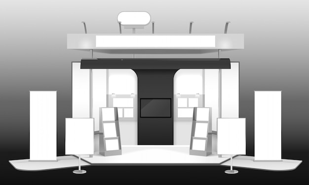 Stand d'exposition maquette 3d design Vecteur gratuit