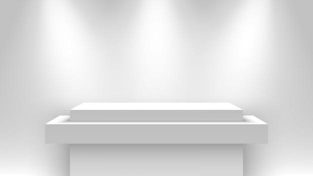 Stand D'exposition Vierge Blanc, éclairé Par Des Projecteurs. Piédestal. Illustration. Vecteur Premium