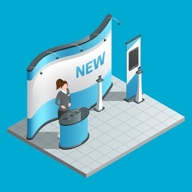Stand isométrique d'exposition avec promotrice et panneau publicitaire Vecteur gratuit
