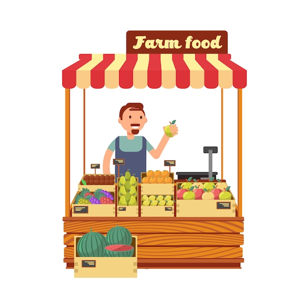 Stand de magasin de fruits et légumes avec illustration de vecteur plat caractère heureux jeune agriculteur Vecteur Premium