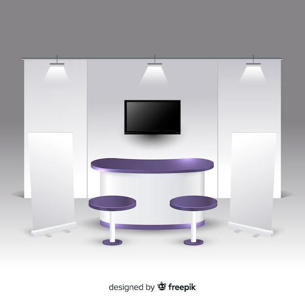 Stand Moderne Au Design Réaliste Vecteur Premium