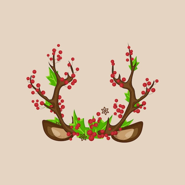 Stand De Photo De Noël Masque Cornes De Cerf Avec Des Oreilles, Des Baies Rouges, Des Feuilles Vertes. Vecteur Premium