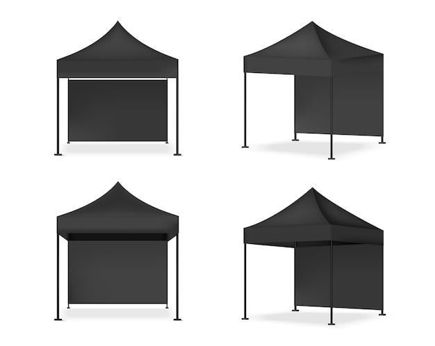 Stand De Pop D'affichage De Tente Réaliste De Maquette 3d. Vecteur Premium
