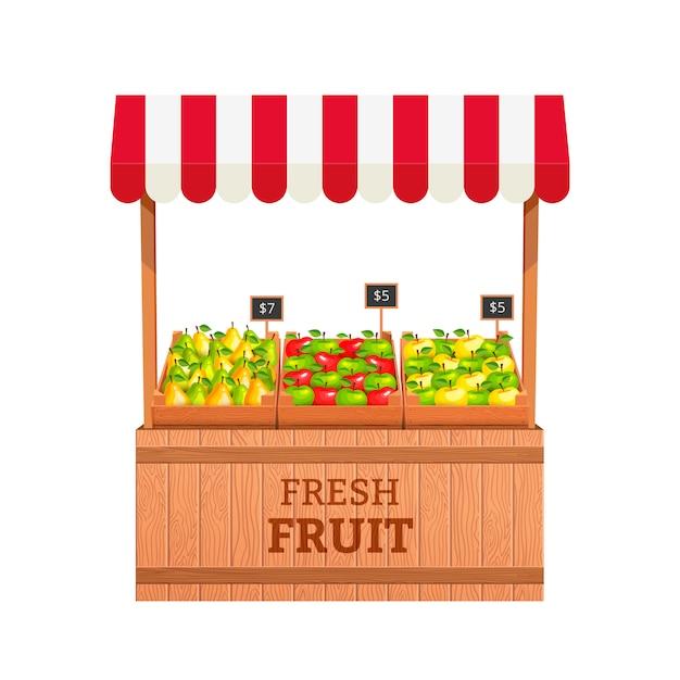 Stand pour vendre des fruits. pommes et poires dans des boîtes en bois. fruit stand illustration Vecteur Premium
